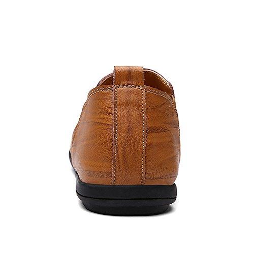 Lakerom Man Dagdrivare För Läder Skor Män Halka På Skor Tillfälliga Läderskor Brown15