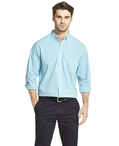 IZOD Men's Slim Fit Button Down Long Sleeve Stretch Performance Gingham Shirt, Caneel Bay, X-Large Slim ()