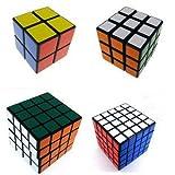 x pack - Black Cube Puzzle Bundle Pack,2x2x2,3x3x3,4x4x4,5x5x5 Set,shengshou Speed Cube Collection