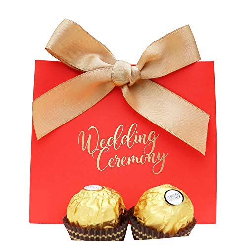 Doris Home 50 pcs Birthday Wedding Party Favor, Wedding Gift Bags Chocolate Candy and Gift Boxes Bridal Shower Party Paper Gift Box (Red 1)