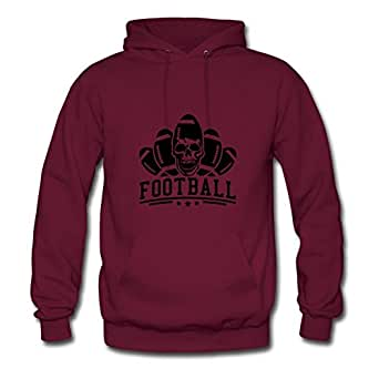 Burgundy Cool Popular Football_skull_dd1 Hoodies X-large Women Customizable