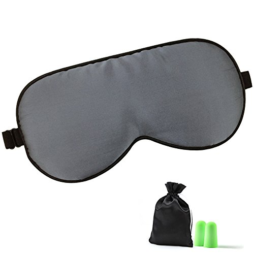Lonfrote Natural Silk Sleep Mask Smooth Blindfold Eye Mask with Adjustable Strap Carry Pounch and Earplugs (Gray)