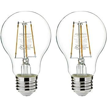 AmazonBasics 25 Watt Equivalent, Clear, Non-Dimmable, A19 LED Light Bulb | 2-Pack