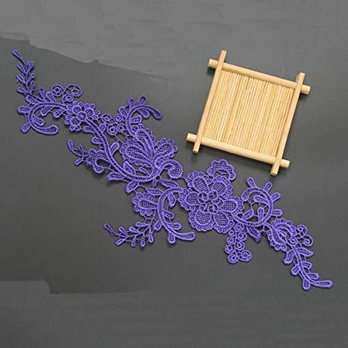 (1 Pair Flower Venise Lace Trims Applique DIY Wedding Sewing Embroidery Craft (Color - Purple))