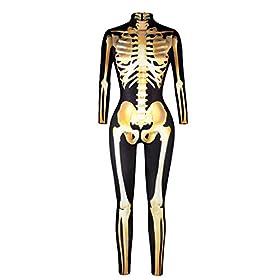 skeleton catsuit - 41PmyvxUl9L - Quesera Women's Halloween Costume Skeleton Zip Up Skinny Catsuit Stretch Jumpsuit