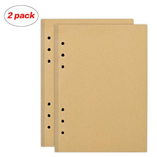 izBuy Filler Paper, 2pcs Refills 6 Holes Lined Beige Paper for A5 6 Ring Binder Journal, 5.8 X 8.2 Inches,300 pages/150Sheets (Fashion Refill Paper)