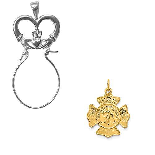 - Mireval Sterling Silver Two-Tone Saint Florian Fireman's Badge Medal Charm