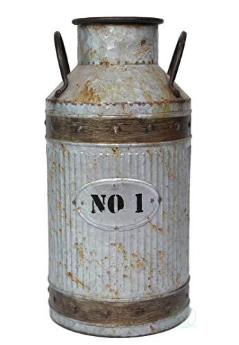 Jug Milk Large - Vintiquewise Galvanized Metal Rustic Milk Can, Large