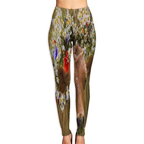 IDO Yoga Pants Dressed Flowers Daisies Leggings Pants for Yoga Running Pilates Gym for Women/Girls White