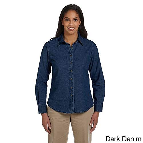 - Harriton Women's Long Sleeve Denim Shirt Dark Denim M