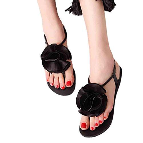 Transer® Damen Sandalen Flach Blume Toepost Elastischer PU-Leder+Gummi Schwarz Grün Sandalen (Bitte achten Sie auf die Größentabelle. Bitte eine Nummer größer bestellen) Schwarz