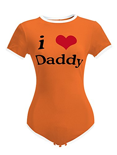 LittleLittle Adult Baby Onesie ABDL Snap Crotch Romper Onesie,I Love Daddy Onesie,, Orange XL