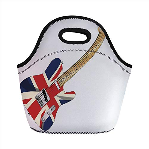 Portable Lunch Bag,Union Jack,Classical Electric Guitar UK Flag Great Britain Music Instrument Decorative,Light Brown Silver Black,for Kids Adult Thermal Insulated Tote Bags ()
