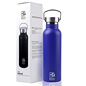 BOGI 20oz Double Wall Vacuum Insulated Stainless Steel Water Bottle-Scratch Resistance&Eco-Friendly for Outdoor Sports Yoga Camping,Straw Flip Cap+Cleaning Brush-1Year Warranty (Dblue)