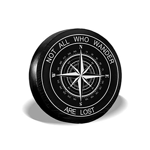Pingping Not All Who Wander are Lost Spare Tire Cover Waterproof Dust-Proof Universal Spare Wheel Tire Cover Fit for Jeep, Camper Travel Trailer, RV, SUV, Truck and Many Vehicle 14