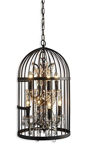 A Touch of Design Birdcage Chandelier - Modern 8-Light Cage Chandelier with Adjustable Chain - Industrial Hanging Light Fixture - Perfect for Kitchen or Foyer