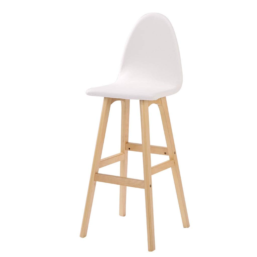 White Solid Wood Bar Stool, Home Bar Chair, Natural Wood Grain High Chair, PU Leather Pad Easy to Clean,6 colors, 48cmX114cm (color   Brown)