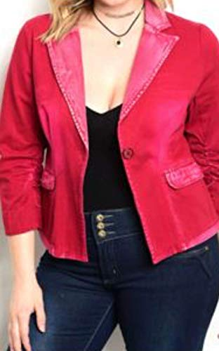 Studded Acid Wash - Plus Size Acid Wash Blazer Jacket (XL) Wine