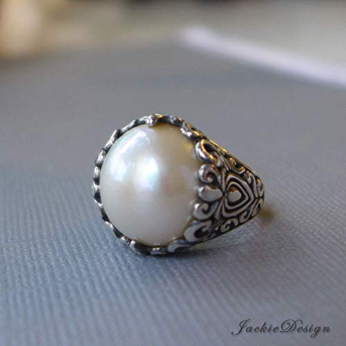 Large 15mm Cream White Mabe Pearl Ring Size 9 Bali Sterling Silver JD219