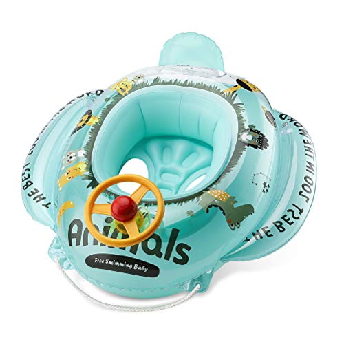 Free Swimming Baby Inflatable Animals Swim Seat Float Boat for Kida Aged 6-36 Months (Blue) (Swim Seat)