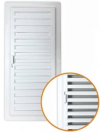 Rejilla ventilación baño PVC 9.8x22.5 cm con marco y cierre