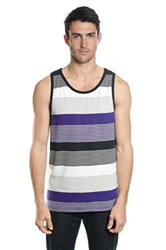 (YAGO Men's Tank Top with Stripe (Black/Gray/Purple, Small))