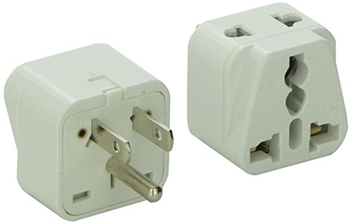 CKITZE BA5-2PK 2 in 1 Grounded Universal to USA Plug Adapter, 2 Pack (Type B)