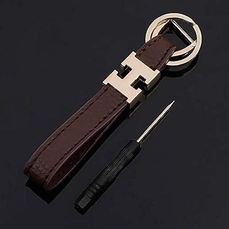 Amazon com : BOLLAER Luxury Leather Keychain for Car Key, H