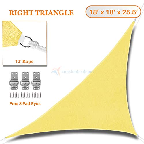 Sunshades Depot 18 x 18 x 25.5 Sun Shade Sail Right Triangle Permeable Canopy Canary Yellow Custom Commercial Standard