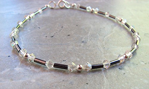 (Crystal Ankle Bracelet - Steel Gray and Clear Crystal Anklet)