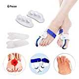 Alisaso Bunion Corrector & Bunion Relief Kit - 6 PC for Cure Pain in Big Toe Joint, Tailors Bunion, Hallux Valgus, Hammer Toe, Toe Separators Spacers Straighteners Splint Aid Surgery Treatment