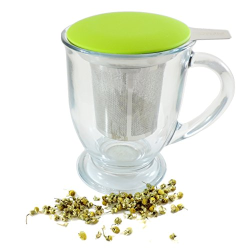 Best Loose Leaf Tea Infuser & Herbal Tea Steeper - Brews, Strains & Steeps Single Cup of Extra Fine Tea - Dishwasher Safe Silicone Top and Stainless Steel Tea Tumbler Basket & Infuser by Essential Home & Kitchen (Image #2)