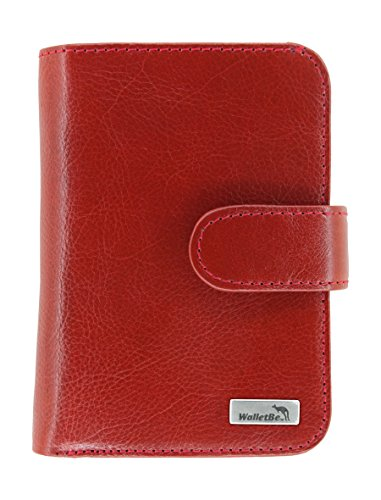WalletBe Women's Leather Billfold Accordion RFID Wallet with Coin Purse Red