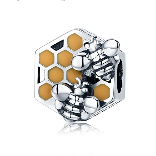 Everbling Queen Bee 925 Sterling Silver Bead Fits European Charm Bracelet (Honeycomb Honey Bee)