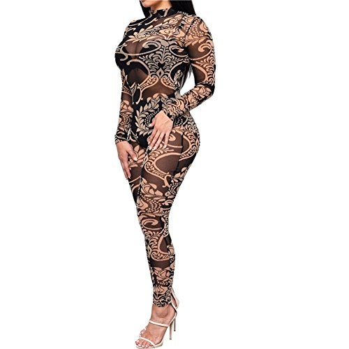 [Women Jumpsuits Tribal Tattoo Printed Dumpsuit Sexy Bodysuit Playsuit, XL] (Sexy Jumpsuits For Women)