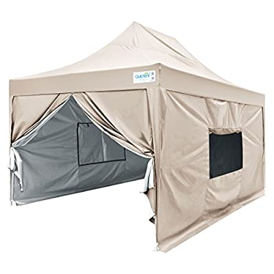 Quictent Privacy 10x15 EZ Pop Up Canopy Tent Instant Outdoor Folding Party Tent with Sidewalls, Mesh Windows Roller Bag Waterproof -5 Colors