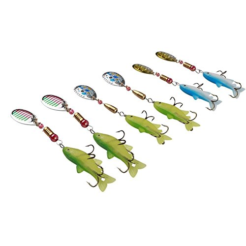 Free Fisher Pike Musky Salmon Bass Fishing Lures Spinner Baits Spoons Set