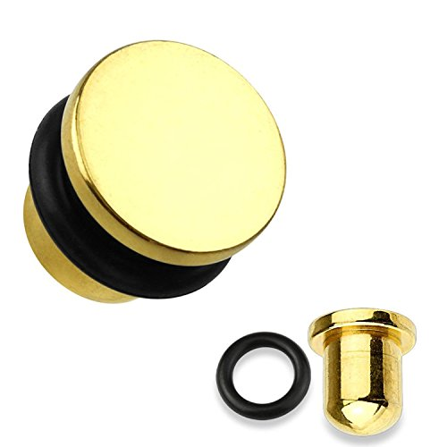 Flat Top Gold Titanium IP 316L Surgical Steel Single Flare Plugs with O-Ring - Sold as Pairs - Gauge 0 Single Flare