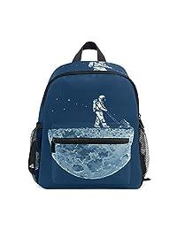 Mini Kids Backpack Daypack Universe Moon Astronaut Pre-School Kindergarten  Toddler Bag for Travel Girls cabc4f93c5
