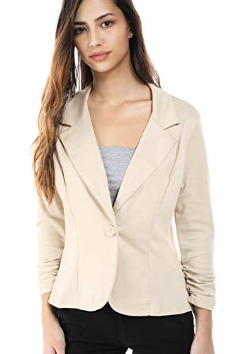 Womens One Button Office Knit Blazer Jacket, Made in USA (Medium, Taupe) Taupe (Best Magazines In Usa)