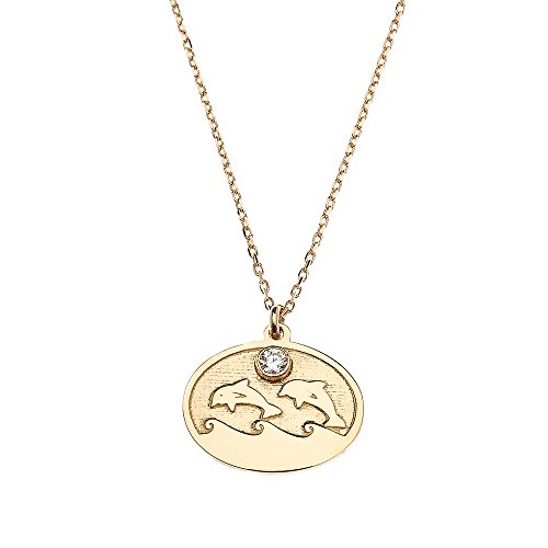 - 14k Yellow Gold Jumping Double Dolphin Cubic Zirconia Charm Pendant Necklace, 16
