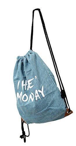 La Vogue Shopper Mochilas de Lona con Cordones Para Mujer Chica 33×40cm Modelo G Modelo F