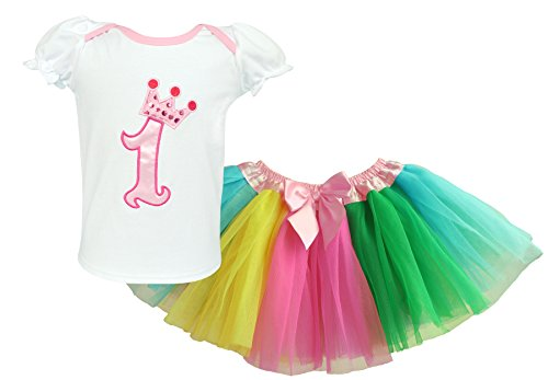 Dancina 1st Birthday Set Newborn Baby Girl's Toddler Cute Crown Tunic Rainbow Tutu Gift 9- 12 (Pretty Girl Outfits)