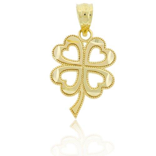 Gold Four Leaf Clover Charm (Gold Four Leaf Clover Charm, 14k Solid Gold)