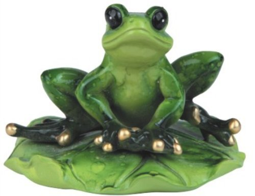 3.25 Inch Green Frog Sitting on A Lily Pad Figurine Statue Animal Decor ()