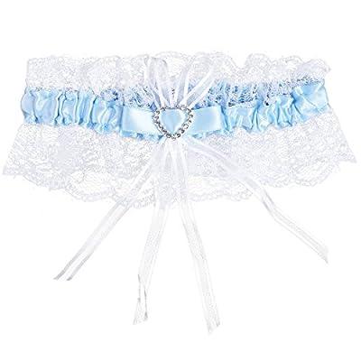 TiaoBug Women's Lace Ribbon Bow Bridal Garter Crystal Heart Satin Wedding Garter
