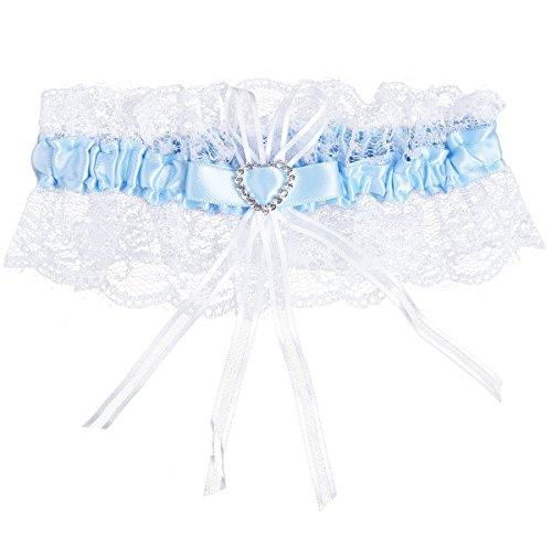 TiaoBug Women's Wedding Garter Lace Satin Bow Crystal Heart Rhinestone Bridal Garter Blue One Size