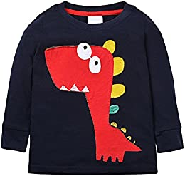 Baby Boys Cotton Long-Sleeved T-Shirt Cartoon Car Dinosaur Print Tees