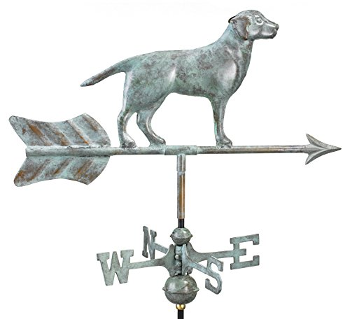 Good Directions Labrador Retriever / Dog Garden Weathervane, Includes Garden Pole, Blue Verde Copper, Patina For Sale