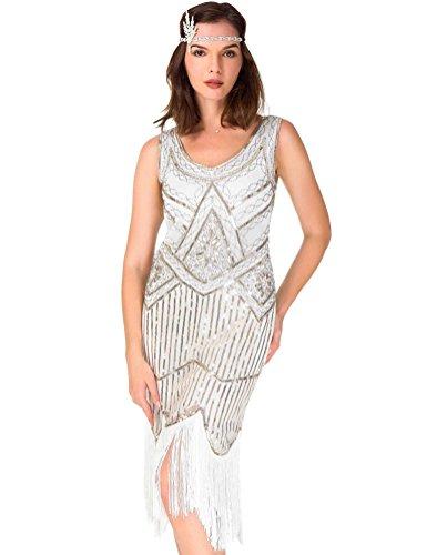 Great Gatsby Items (Women's Roaring 20s V-Neck Gatsby Dresses- Vintage Inpired Sequin Beaded Flapper Dresses (L,)